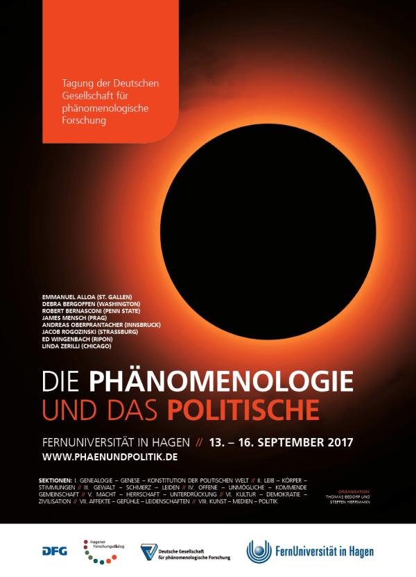 et al. und der diesjährige Kongress der Deutschen Gesellschaft für Phänomenologische Forschung (DGPF), FernUniversität in Hagen, 13. bis 16. September 2017